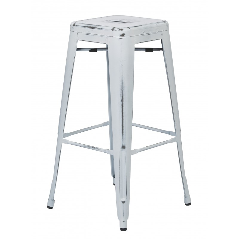 "OSP Designs Bristow 30"" Antique Metal Barstool 4 pack - Antique White Finish (BRW3030A4-AW)"