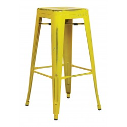 "OSP Designs Bristow 30"" Antique Metal Barstool 4 pack - Antique Yellow with Blue Specks Finish (BRW3030A4-AY)"