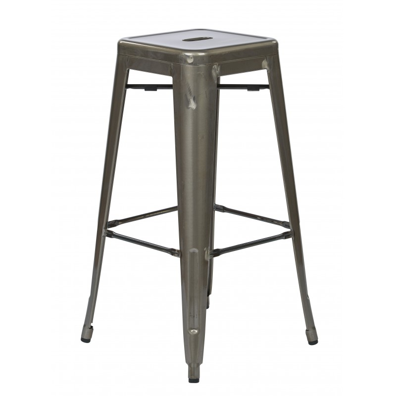 "OSP Designs Bristow 30"" Antique Metal Barstool 4 pack - Gun Metal Finish (BRW3030A4-GM)"