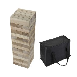 Hathaway Block Out Wood Toppling Tower Stacking, Collapsing Game w/ Bag (BG3151)