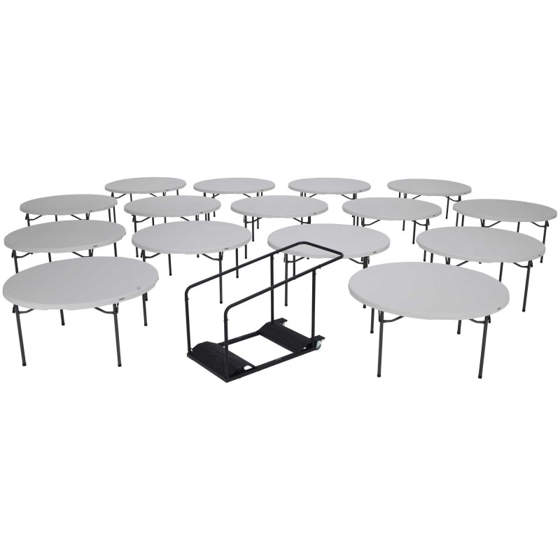 Lifetime 60-Inch Round Commercial Stacking Folding Tables 15-pack w/ Cart (white granite) 80441