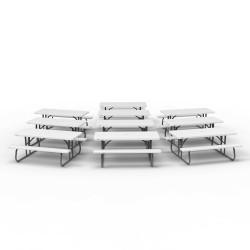 Lifetime 10 Pack - 6 ft. Plastic Folding Picnic Tables - White Granite (880215)