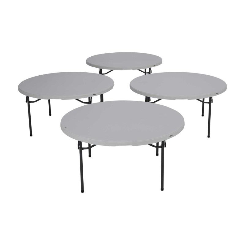Lifetime 4-Pack 60-Inch Round Commercial Stacking Folding Tables - White Granite (480301)