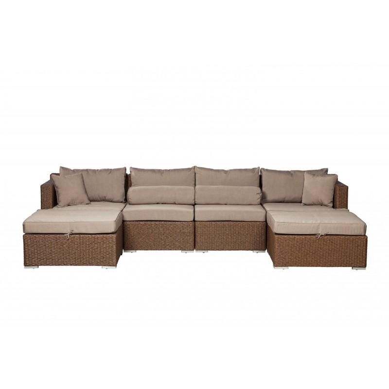 Patio Sense Teagarden Wicker Couch Sectional Set (62541)