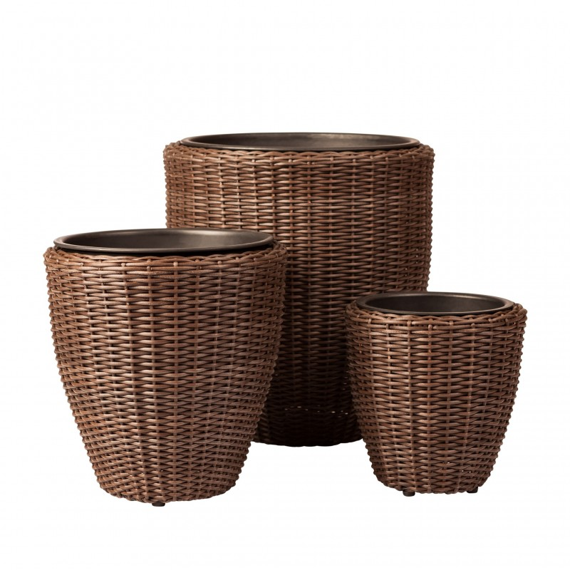 Patio Sense Tondo 3-piece Wicker Planter Set (62502)