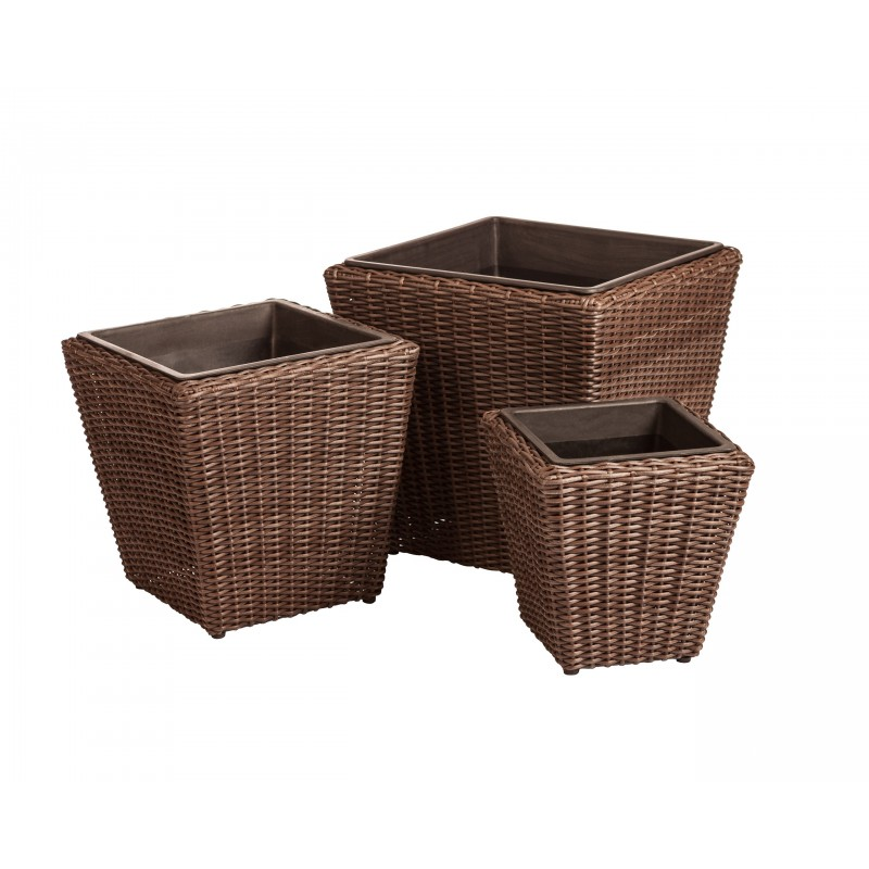 Patio Sense Piazza 3-piece Wicker Planter Set (62503)
