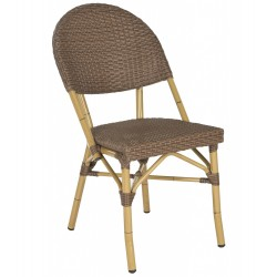 SAFAVIEH BARROW INDOOR-OUTDOOR STACKING ARMCHAIR - BROWN (FOX5203A-SET2)