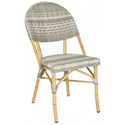 SAFAVIEH BARROW INDOOR-OUTDOOR STACKING ARMCHAIR - GREY (FOX5203B-SET2)