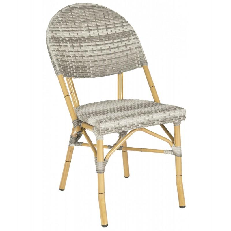 Safavieh Barrow Indoor-Outdoor Stacking Arm Chair Set of 2 - Grey (FOX5203B-SET2)