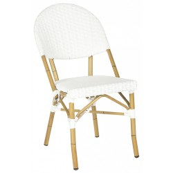 SAFAVIEH BARROW INDOOR-OUTDOOR STACKING ARMCHAIR - WHITE (FOX5203C-SET2)