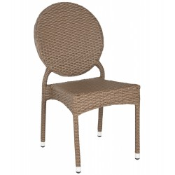 SAFAVIEH VALDEZ INDOOR-OUTDOOR FRENCH BISTRO STACKING SIDE CHAIR - BROWN (FOX5204A-SET2)