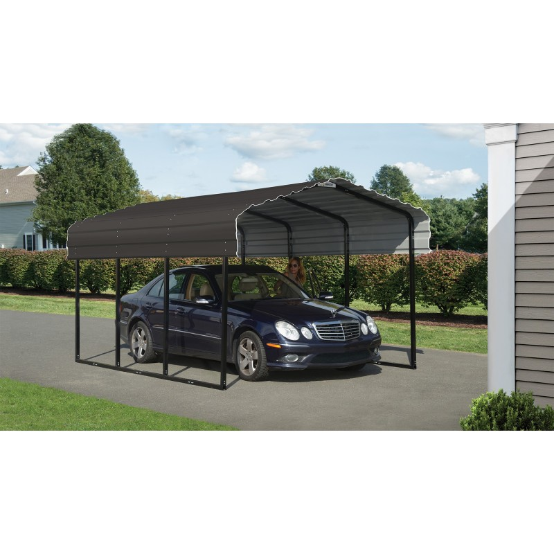 Arrow 10x24x7 Steel Carport Kit Charcoal Cphc102407