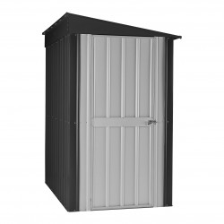 Globel 4'x8' Lean-Globel 4'x8' Lean-To Metal Storage Shed - Slate Gray and Silver (GL4005)
