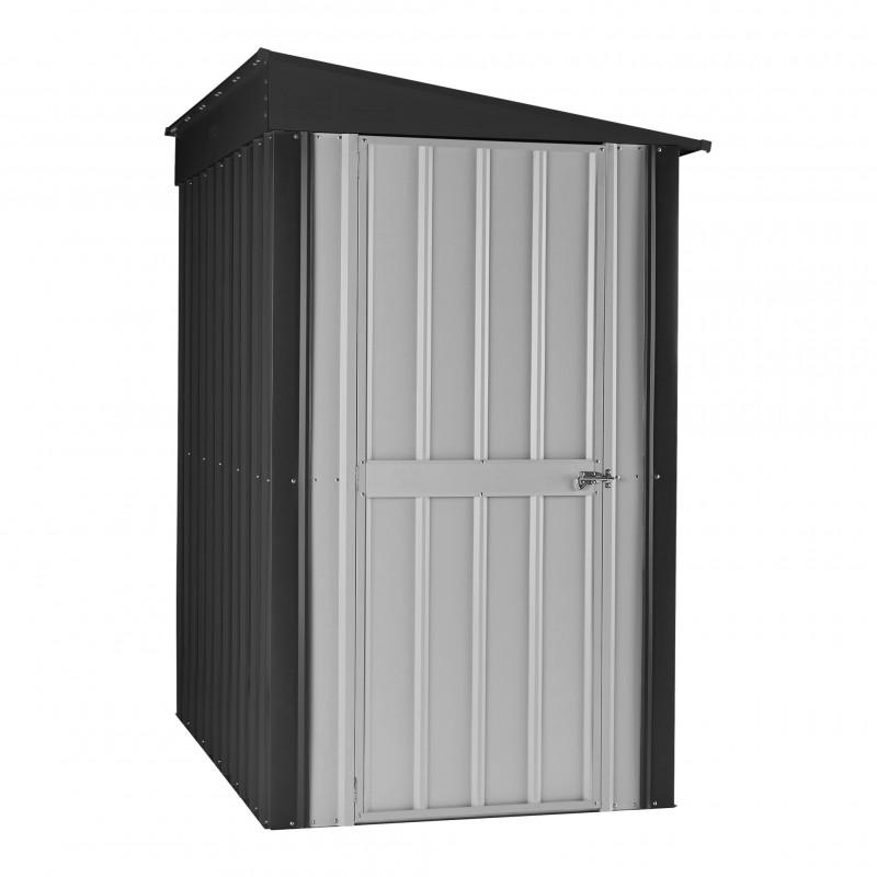 Globel 4'x8' Lean-Globel 4'x8' Lean-To Metal Storage Shed - Slate Gray and Silver (GL4005)