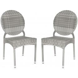 Safavieh Valdez Indoor-Outdoor French Bistro Stacking Side Chair Set of 2 - Grey (FOX5204B-SET2)