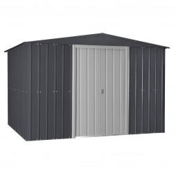 Globel 10x12 Gable Roof Storage Shed Kit - Steel Gray/Aluminum White (GL1009)