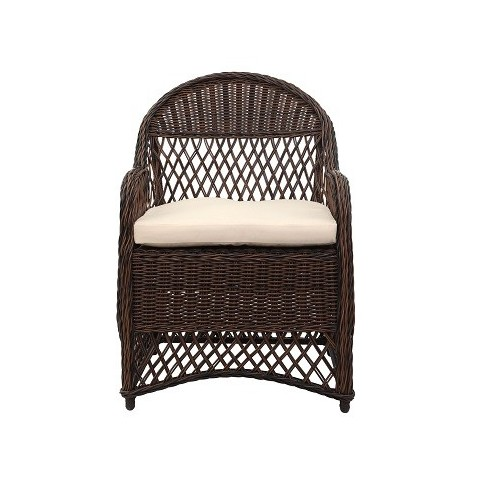 DAVIES WICKER ARM CHAIR WITH CUSHION