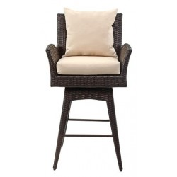 HAYES OUTDOOR WICKER SWIVEL ARMED COUNTER STOOL