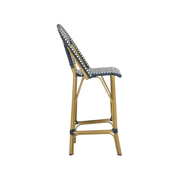 Admirable Safavieh Ford Indoor Outdoor Stacking French Bistro Bar Stool Navy White Pat4008A Theyellowbook Wood Chair Design Ideas Theyellowbookinfo