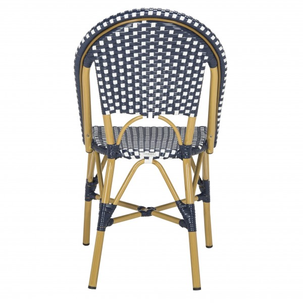 Excellent Safavieh Salcha Indoor Outdoor French Bistro Stacking Side Chair Set Of 2 Navy White Light Brown Fox5210F Set2 Inzonedesignstudio Interior Chair Design Inzonedesignstudiocom