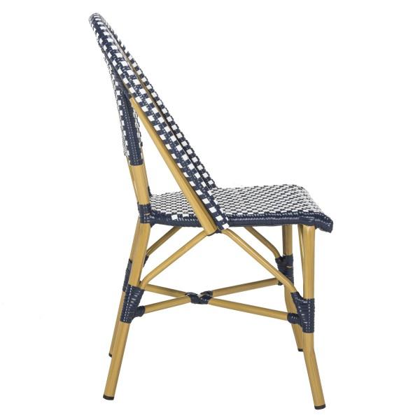 Sensational Safavieh Salcha Indoor Outdoor French Bistro Stacking Side Chair Set Of 2 Navy White Light Brown Fox5210F Set2 Inzonedesignstudio Interior Chair Design Inzonedesignstudiocom