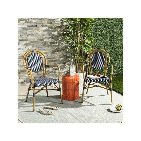 Wondrous Safavieh Rosen French Bistro Stacking Arm Chair Navy White Pat4014A Set2 Inzonedesignstudio Interior Chair Design Inzonedesignstudiocom