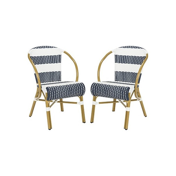 Astonishing Safavieh Sarita Striped French Bistro Stacking Side Chair Set Of 2 Navy White Pat4009A Set2 Gmtry Best Dining Table And Chair Ideas Images Gmtryco
