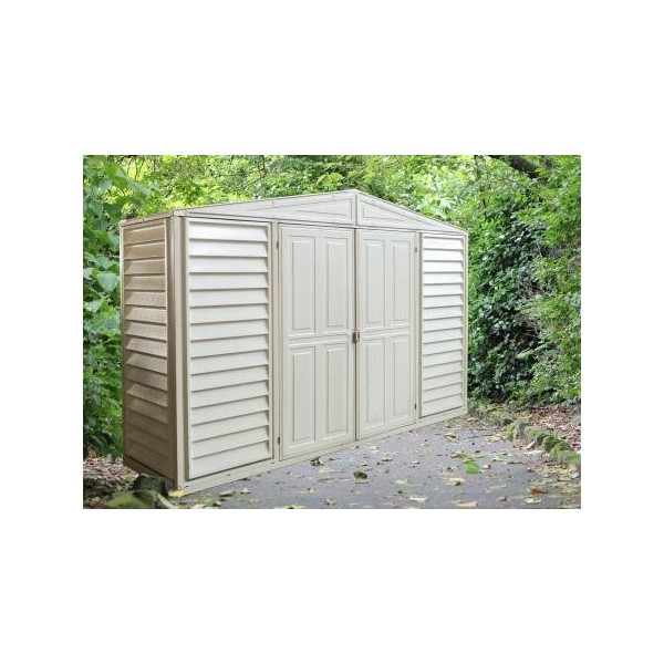 Garden Sheds 10 X 3 duramax 10x3 woodbridge sidepro vinyl shed w/ foundation kit (98001)
