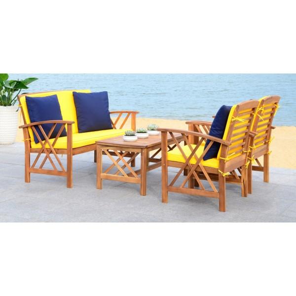 Safavieh Fontana 4 PC Outdoor Set - Natural/Yellow (PAT7008D) on Safavieh Outdoor Living Fontana id=69434