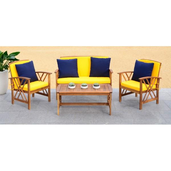Safavieh Fontana 4 PC Outdoor Set - Natural/Yellow (PAT7008D) on Safavieh Outdoor Living Fontana id=31615