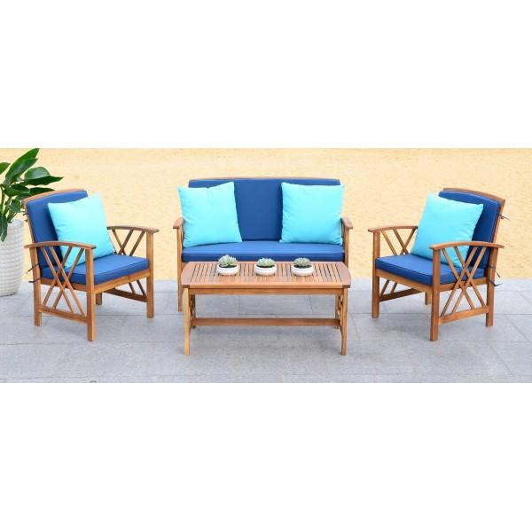 Safavieh Fontana 4 PC Outdoor Set - Natural/Navy (PAT7008C) on Safavieh Outdoor Living Fontana id=98721