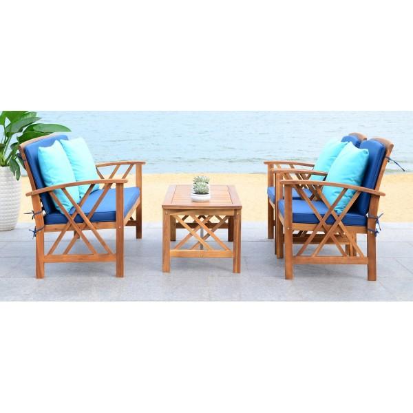 Safavieh Fontana 4 PC Outdoor Set - Natural/Navy (PAT7008C) on Safavieh Outdoor Living Fontana id=82783