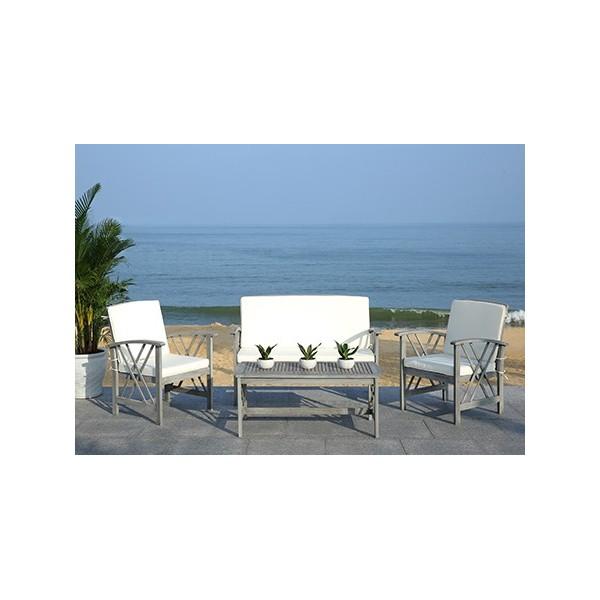 Safavieh Fontana 4 pc Outdoor Set - Grey Wash/Beige (PAT7008B) on Safavieh Fontana Patio Set id=91432