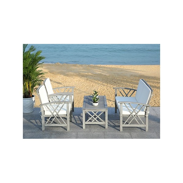 Safavieh Fontana 4 pc Outdoor Set - Grey Wash/Beige (PAT7008B) on Safavieh Outdoor Living Fontana id=50058