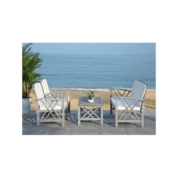 Safavieh Fontana 4 pc Outdoor Set - Grey Wash/Beige (PAT7008B) on Safavieh Outdoor Living Fontana id=29128