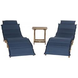 Safavieh Pacifica 3 Piece Lounge Set - Natural/Navy (PAT7020C)