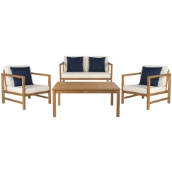 Safavieh Montez 4 PC Outdoor Set with Accent Pillows - Natural/White/Navy (PAT7030A)