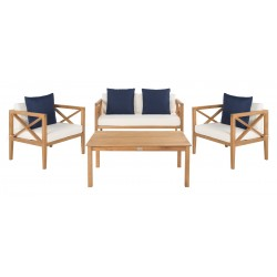 Safavieh Nunzio 4 PC Outdoor Set with Accent Pillows - Natural/White/Navy (PAT7031A)