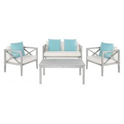 Safavieh Nunzio 4 PC Outdoor Set with Accent Pillows-Grey Wash/White/Light Blue (PAT7031B)