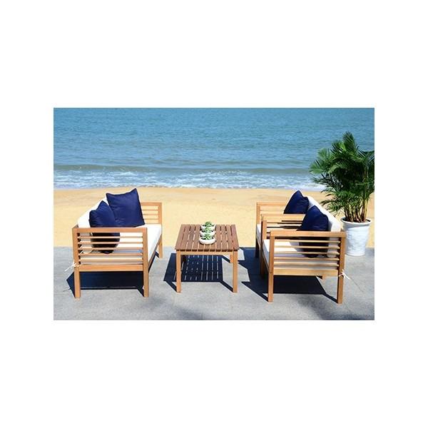 Safavieh Alda 4 PC Outdoor Set with Accent Pillows ... on Safavieh Alda 4Pc Outdoor Set id=51129