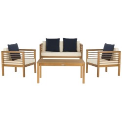 Safavieh Alda 4 PC Outdoor Set with Accent Pillows - Natural/White/Navy (PAT7033A)