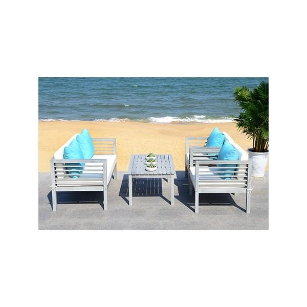 Safavieh Alda 4 PC Outdoor Set with Accent Pillows-Grey ... on Safavieh Alda 4Pc Outdoor Set id=74881