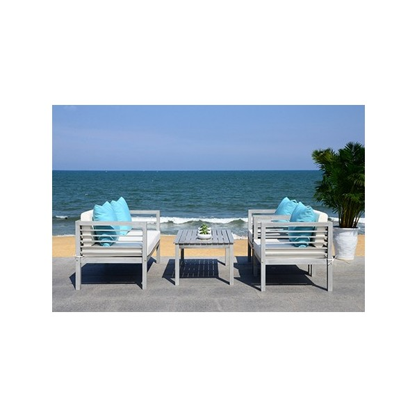 Safavieh Alda 4 PC Outdoor Set with Accent Pillows-Grey ... on Safavieh Alda 4Pc Outdoor Set id=48169