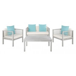 Safavieh Alda 4 PC Outdoor Set with Accent Pillows-Grey Wash/White/ Light Blue (PAT7033B)
