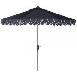 Safavieh Elegant Valance 9FT UV Resistant Auto Tilt Umbrella - Navy/White (PAT8006A)