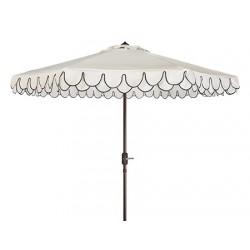 Safavieh Elegant Valance 9FT Auto UV Resistant Tilt Umbrella - White/Black (PAT8006E)