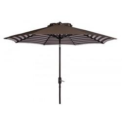 Safavieh Athens Inside Out Striped 9ft Crank Outdoor Auto Tilt Umbrella - Brown/White (PAT8007D)