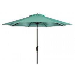 Safavieh Athens Inside Out Striped 9ft Crank Outdoor Auto Tilt Umbrella Dark Green/White (PAT8007E)