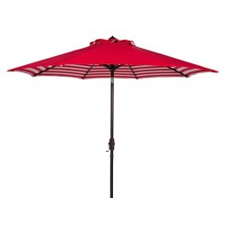 Safavieh Athens Inside Out Striped 9ft Crank Outdoor Auto Tilt Umbrella - Red/White (PAT8007F)