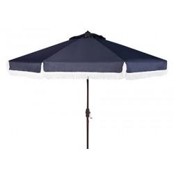 Safavieh Milan Fringe 9ft Crank Outdoor Push Button Tilt Umbrella - Navy/White (PAT8008A)